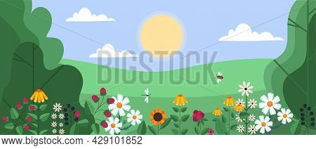 Spring And Summer Background. Beautiful Landscape With Trees, Leaves, Flowers And Insects. Horizonta