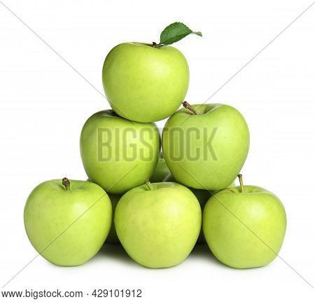 Delicious Ripe Green Apples On White Background