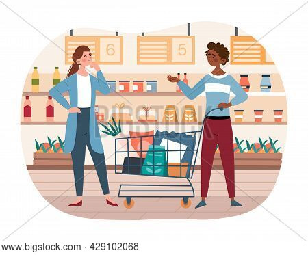 Buying Food Concept. Man And Woman With Cart In Grocery Store. Trip To Supermarket. Characters Stand