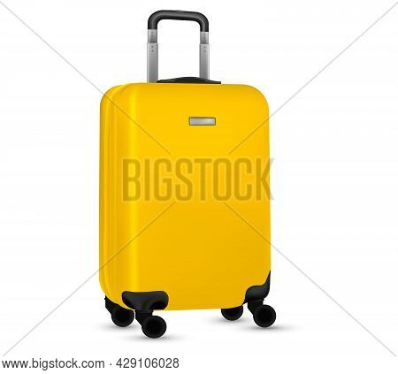 Bag Travel. Yellow Travel Plastic Suitcase Or Vacation Baggage Bag Collection Isolated On White Back