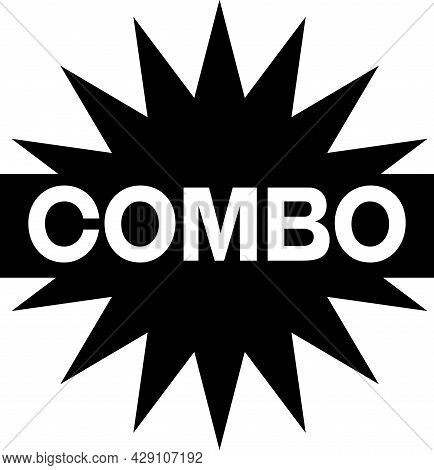 Combo Black On White Sign. Promotion Black Star, Explosion Sign With Word Combo On It. Promotion Sti