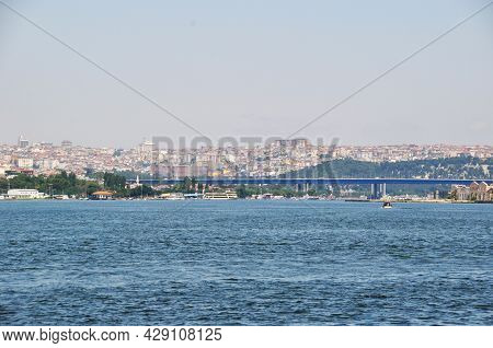 Panorama Of The Bosphorus And The Bridge Over The Strait. Panorama Of The City. Istanbul. Summer.