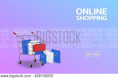 Shopping Online Web Page With Cart And Stack Of The Shopping Bag. Convenient Worldwide Marketing On
