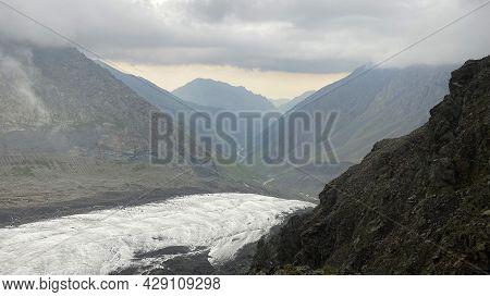 Wonderful Mountain Landscape Of North Ossetia. Mountains, Rocks, Hills, Glacier. Climbing Kazbek Fro