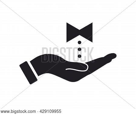 Hand Tie Logo Design. Tie Logo With Hand Concept Vector. Hand And Tie Logo Design