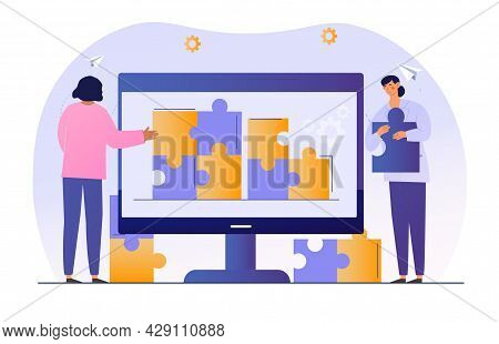 People Connecting Puzzle Elements. Technical Support Solve Problem On Remote Device. Digital Era Ser