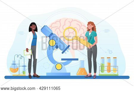 Laboratory Scientist Study And Experiment In Human Brain And Psychology, Head Tomography, Memory Res