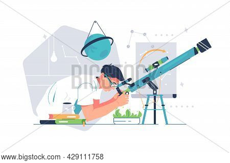 Man Study Galaxy Through Telescope. Vector Meteors And Constellation Of Stars Flat Style Design. Ast