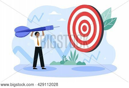 Ma Stand And Hold Dart Before Bullseye Target. Motivation In Business Goal Achievement, Hero Image.