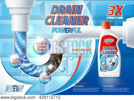 Vector Silver Drain Pipe Cleaner Product Ad