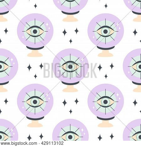 Crystal Ball Seamless Pattern, Fortune Telling, Occult Magic Ball On White Background, Vector Illust