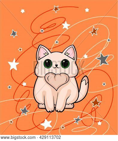 Cute White Cat Illustration. Drawn Cute Cat With The Constellations On An Orange Background. Illustr