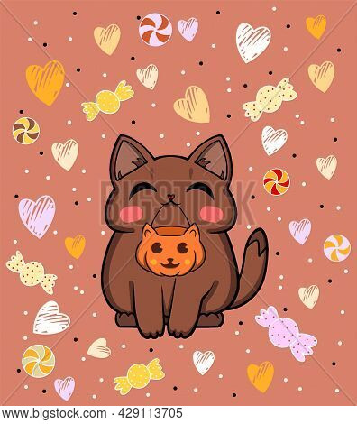 Halloween Cat Illustration. Drawn Cute Cat With A Pumpkin For Sweets. Art Of A Cute Cat For Hallowee