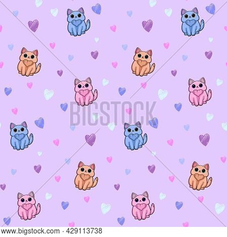 Cartoon Seamless Pattern With A Little Cat And Hearts On A Lavender Background. Cute Seamless Patter