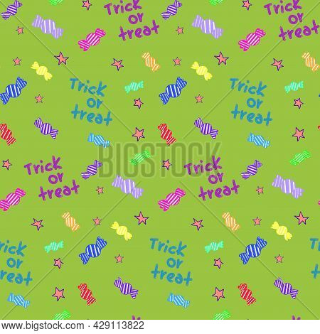 Handwritten Trick Or Treat. Halloween Seamless Pattern Vector. Acid Colors Pattern For Gift Wrapping