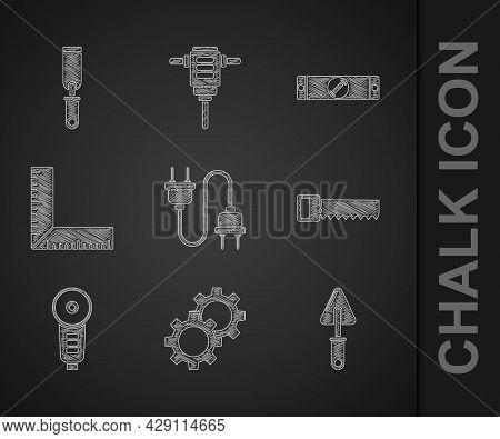 Set Electric Plug, Gear, Trowel, Hand Saw, Angle Grinder, Corner Ruler, Construction Bubble Level An