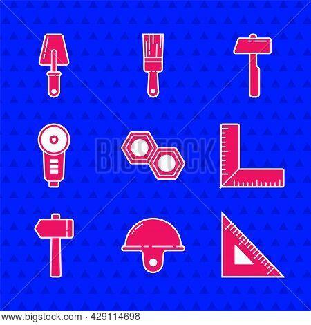 Set Hexagonal Metal Nut, Worker Safety Helmet, Triangular Ruler, Corner, Hammer, Angle Grinder, And