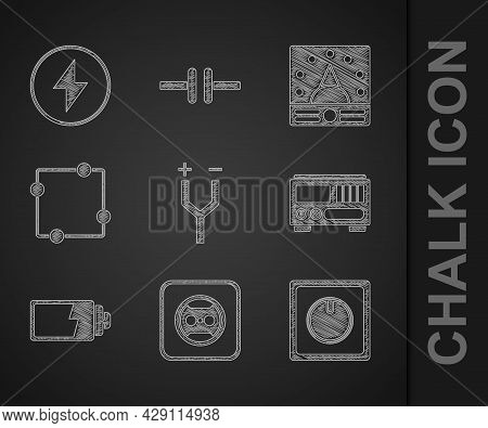Set Electric Cable, Electrical Outlet, Light Switch, Measuring Instruments, Battery Charge Level Ind