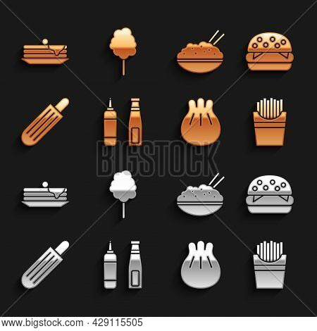 Set Sauce Bottle, Burger, Potatoes French Fries In Box, Khinkali On Cutting Board, French Hot Dog, R