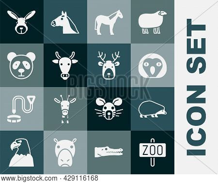 Set Zoo Park, Hedgehog, Owl Bird, Horse, Cow Head, Cute Panda Face, Rabbit And Deer With Antlers Ico