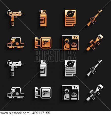 Set Hunting Shop Weapon, M16a1 Rifle, Sniper Optical Sight, Advertising, Collimator, Firearms Licens