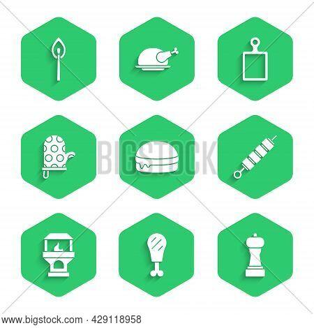 Set Burger, Chicken Leg, Pepper, Grilled Shish Kebab, Brick Stove, Oven Glove, Cutting Board And Bur