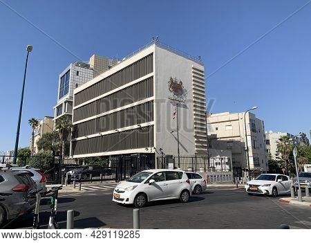 Tel-aviv, Israel - May 25, 2021: The British Embassy In Tel Aviv On A Busy Street