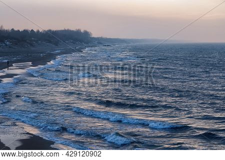 View Of The Stormy Baltic Sea On The Vistula Spit At The Winter Time.