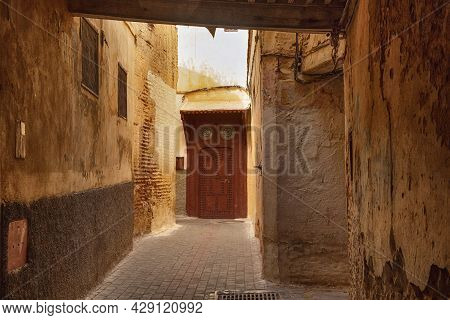 Old Wooden Door In The Meknes Medina. Meknes Is One Of The Four Imperial Cities Of Morocco And The S