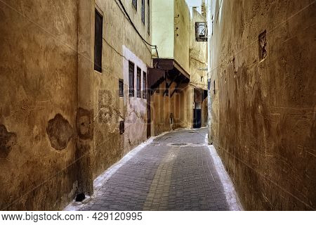 Narrow Streets Of The Meknes Medina. Meknes Is One Of The Four Imperial Cities Of Morocco And The Si