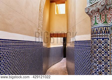 View Of The Narrow Streets Of Fez Medina Quarter In Morocco. A Medina Is Typically Walled, With Many