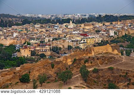 Aerial View Of The Fez El Bali Medina. Is The Oldest Walled Part Of Fez, Morocco. Fes El Bali Was Fo