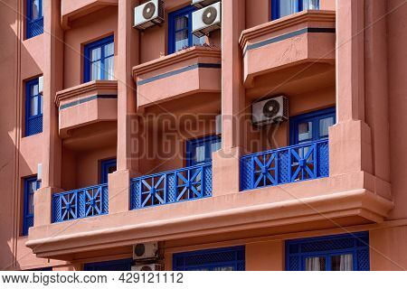 View Of The Windows Of The Typical Residential Building In Marrakech On A Sunny Day. Morocco.