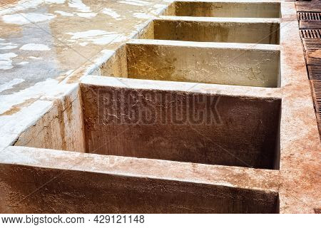 Old Empty Vats For Dye In The Marrakesh Tannery. Morocco.