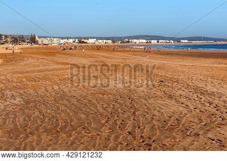 Amateur Teams Play Soccer On A Sandy Beach On The Shore Of The Atlantic Ocean In The Area Of Essaoui