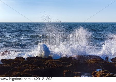View Of The Waves Of The Atlantic Ocean In The Area Of The City Of Essaouira In Morocco On A Sunny S