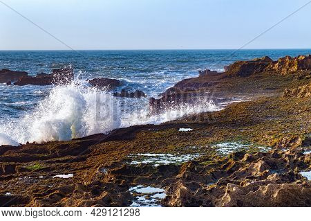 Beautiful View Of The Atlantic Ocean In The Area Of The City Of Essaouira In Morocco On A Sunny Summ