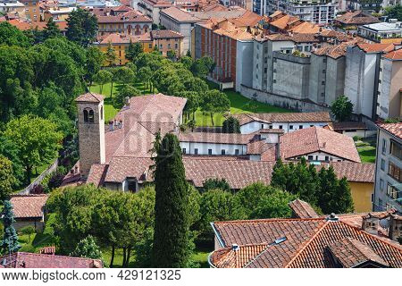 View Of The Historical Buildings In The Bergamo In Northern Italy. Bergamo Is A City In The Lombardy