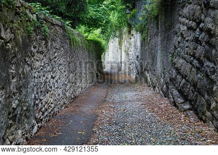 Old Pedestrian Street As A Down From The Upper Bergamo To The Lower Bergamo. Italy.