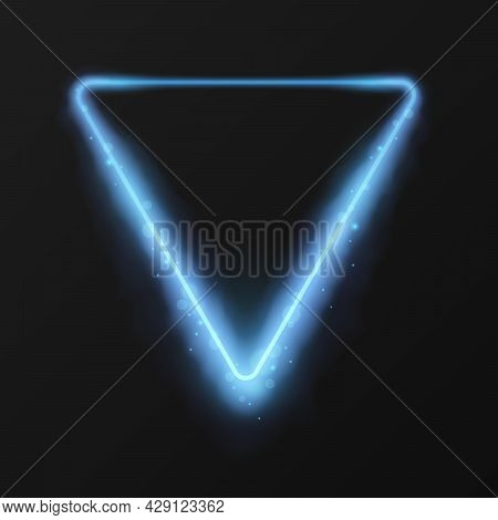 Triangle Frame With Bokeh Effect. Blue Magic Clouds And Glowing Sparkles. Neon Frame Effect, Glowing
