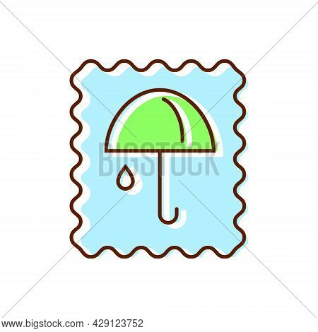 Waterproof Material Label Flat Icon. Rain Cover. Fabric Feature. Textile Industry. Color Symbol. Iso