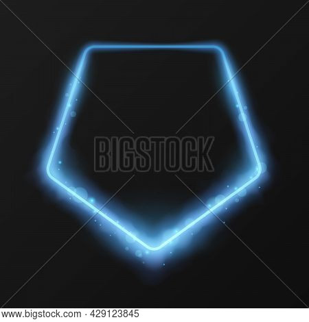 Pentagon Frame With Glowing Sparkles. Blue Neon Glow Effect Frame. Bright Round Glowing Glares With