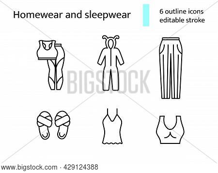 Cozy Homewear And Sleepwear Outline Icons Set. Comfortable Clothes. Nightshirt And Nightie, Pajama.