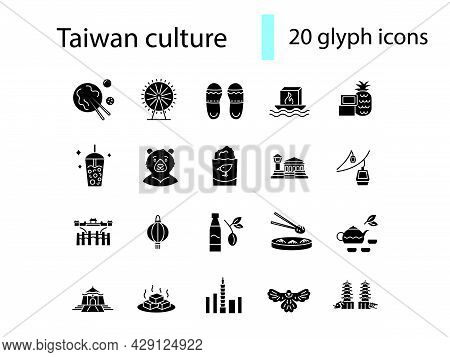 Taiwan Glyph Icons Set. Taiwanes Attractions. Buddha, Formosan Bear. Water Lantern. Black Filled Sym