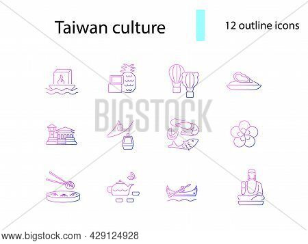 Culture Of Taiwan Outline Icons Set. Taiwanese Items. Elements For Travel Agent And Guide. Purple Gr