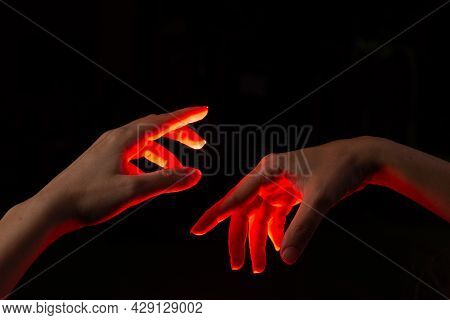 Two Hands Reaching Out To Each Other, The Moment Of Creation, The Divine Concept Of The Moment Of Cr