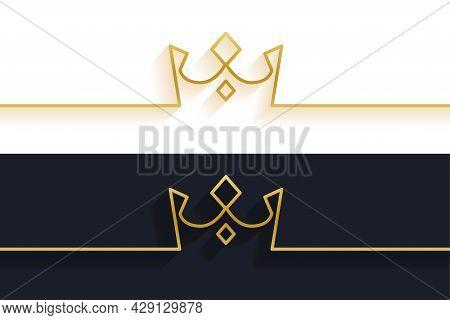 Minimalist Line Crown Concept Background Design Vector Illustration