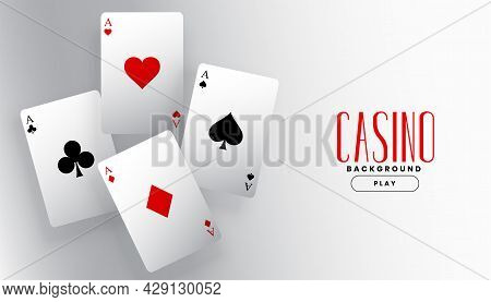 Four Playing Casino Ace Cards Background Design Vector Illustration