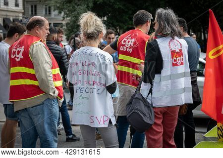 August 05 2021, Lyon, Rhone Alpes Auvergne, France : Demonstrators In The Street Against The Sanitar
