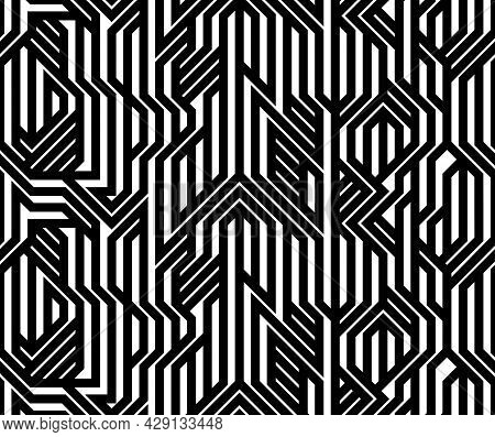 Tech Style Seamless Linear Pattern Vector, Monochrome Circuit Board Lines Endless Background Wallpap